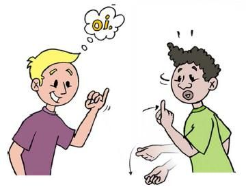 Gestos, mímicas: a linguagem de gestos e mímicas é basicamente uma linguagem natural e universal. É o primeiro idioma que aprendemos nos braços de nossas mães. Durante toda a vida, usamos as mãos fazendo gestos e sinais para expressar nossas idéias com mais ênfase e clareza, e tal hábito é tão natural como chorar ou rir. No mundo silencioso dos surdos, vemos a grande necessidade e utilidade da linguagem mímica (OATES, 1990).