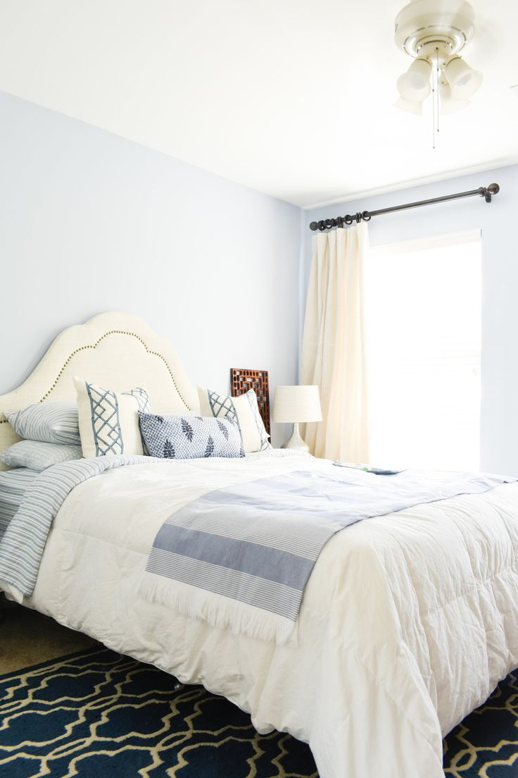 Curtains For A Blue Room How To Diy Cheap Curtain Panels One Day Guest Room Refresh