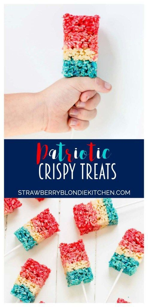 Reminiscent of the classic bomb pop, with much less mess, these Patriotic Crispy Treats are not your ordinary dessert. They're layers of flavors with strawberry, vanilla and blue raspberry. A fun, new and Patriotic twist on everyone's favorite past time treat. Perfect addition to your next American party! | Strawberry Blondie Kitchen