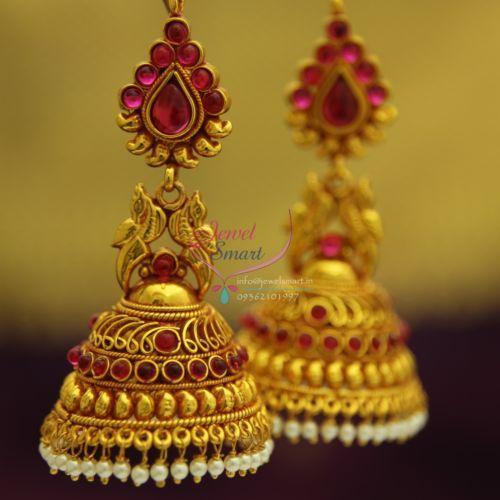 J1903-Broad-Grand-Temple-Kempu-Gold-Design-Ruby-Beads-Hangings-Dulhan-Jhumka-Buy