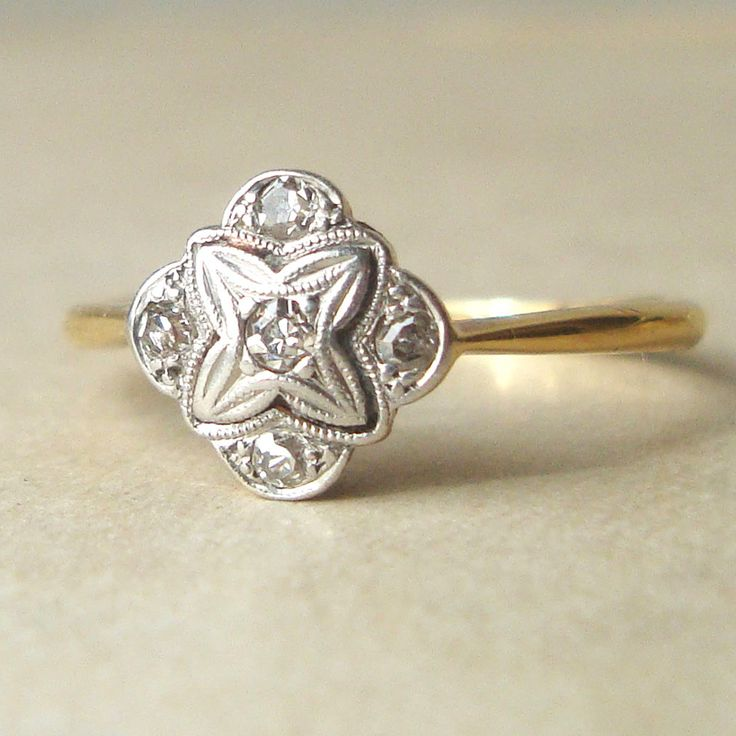Floral Diamond Engagement Ring, Vintage 1920s Diamond and 18k Gold Ring, Size US 6.25. $598.00, via Etsy.