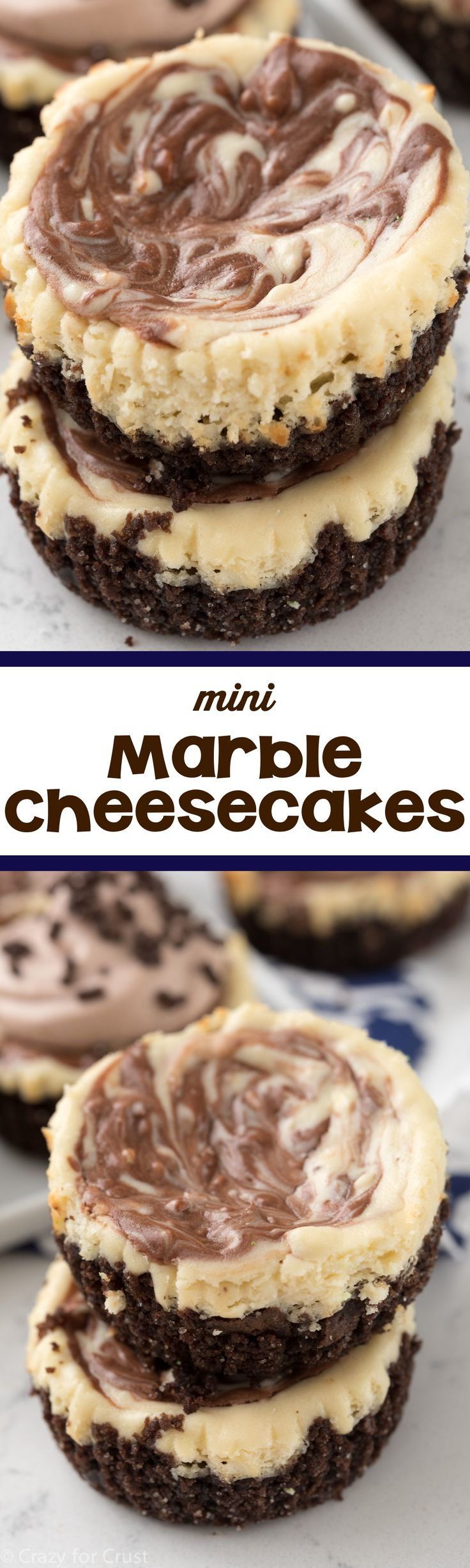 Mini Marble Cheesecakes - these easy mini cheesecakes are marbled with chocolate. These are perfect all year long!