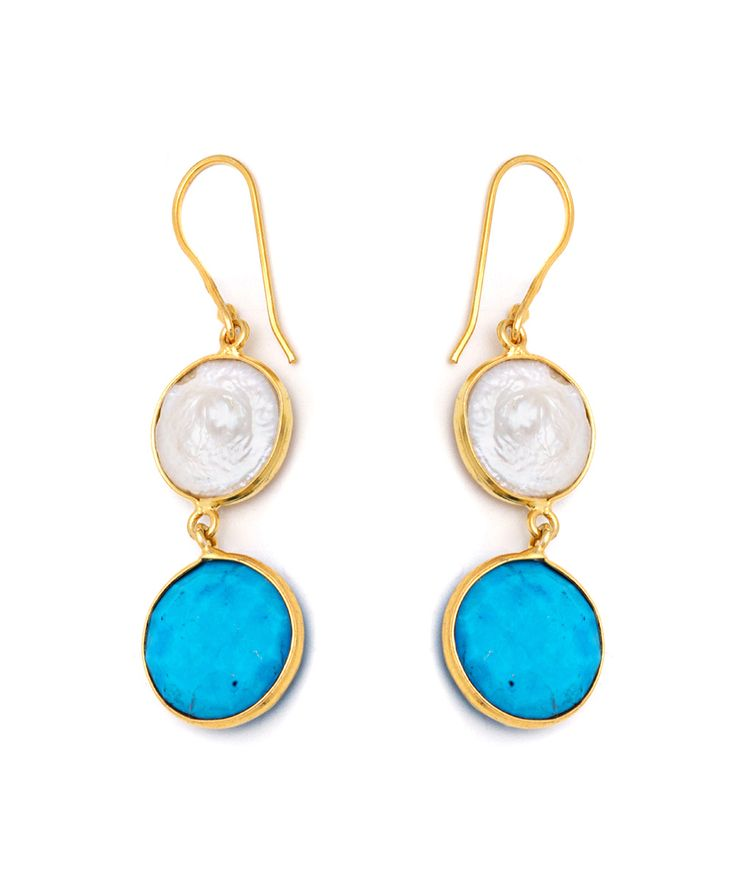 Turquoise & Freshwater Pearl Round Drop Earrings