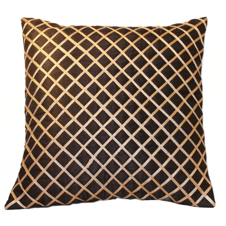 Get ready to change the look of your living room by picking this cushion cover.  The copper diagonal checks looks awesome on Black Silk fabric. Not only that, it simply  adds classy  &  exotic appearance to your living area , it's the one not to be missed !!  FEATURES : 16 Inch * 16 Inch / 40.5 cm *  40.5 cm