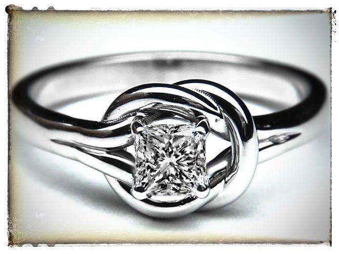 Love Knot Princess Diamond Solitaire Diamond Engagement Ring