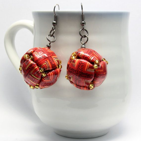 Red Circle Shaped Square Paper Beads Earrings