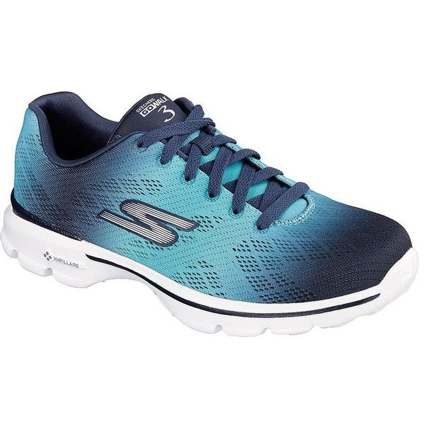 Skechers Go Walk 3 Pulse Sneakers (£36) ❤ liked on Polyvore featuring shoes, sneakers, blue, breathable shoes, skechers shoes, skechers sneakers, skechers footwear and skechers