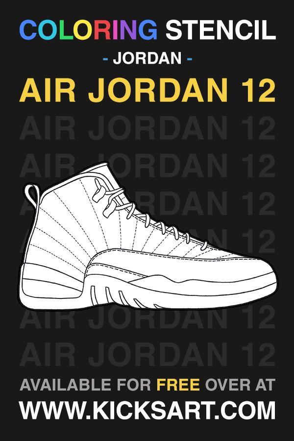 Air Jordan 12 Sneaker Coloring Page In 2021 Jordan Coloring Book Coloring Pages Jordan Shoes Retro