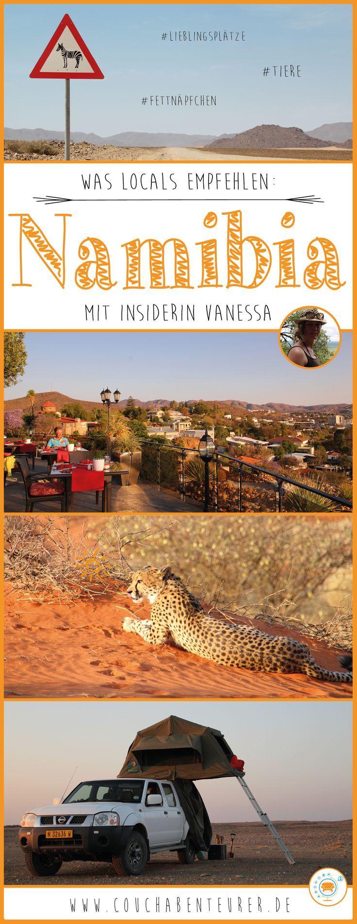Auf Reisen erkundige ich mich oft bei Locals über ihr Land. Das hilft mir in keine Fettnäpfchen zu treten, sicher zu reisen und die schönsten Plätze zu entdecken. Glücklicherweise habe ich liebe Freunde, die aus Namibia stammen und mir auch vorab schon verraten haben, worauf es in ihrer Heimat ankommt! Vanessa habe ich auf einer Messe in München kennengelernt und seither sind wir befreundet. Ich verfolge immer mit großen Augen, wenn sie wieder in ihrer Heimat ist und tolle Abenteuer erlebt.