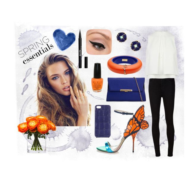 Blue & Orange by alzbeta-zlochova on Polyvore featuring polyvore, fashion, style, AG Adriano Goldschmied, Sophia Webster, ALDO, Dsquared2, The Case Factory, Stila, LORAC, OPI and Lux-Art Silks