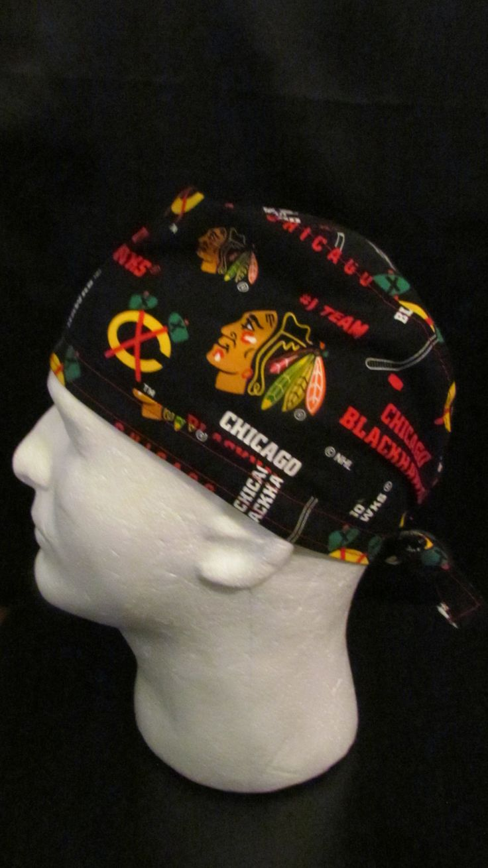 Blackhawks NHL Chicago Blackhawks Hockey Tie Back Surgical Scrub Hat