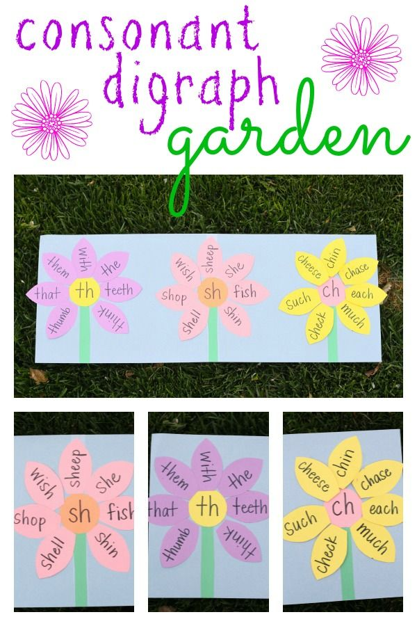 Consonant Digraph Garden - fun way to review phonics with kids