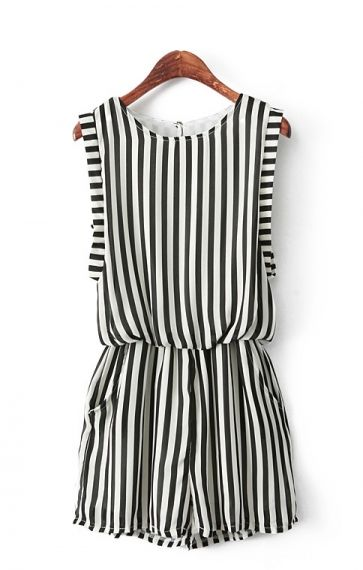 Fashion Vertical Stripes Printing Chiffon Jumpsuit