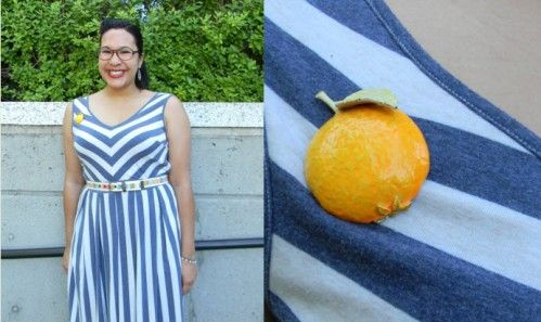 Fashion for Giants outfit featuring striped eShakti dress, multi-colored belt, huaraches & a vintage orange brooch.