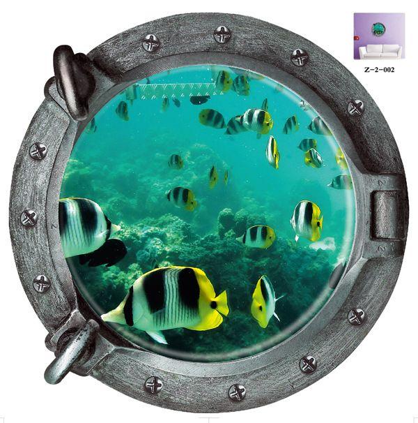 Diy 3d Подводный Мир Подводная Лодка Стены Стикеры Красочные Тропические Рыбы Холодильник Виниловые Искусство Home Decor Ванная Комната Фреска Наклейка