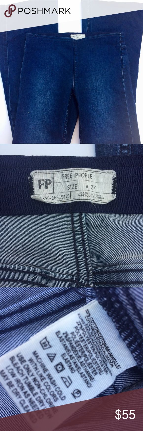 Free People Penny Pull On Flare Jeans 27/30.5 Super cute jeans waist has an elastic band and are super slimming waist measures 15in rise 9in inseam 30.5 in ankle width 11.5 any questions please ask!!53% cotton 23% rayon 22% polyester 2% spandex Free People Jeans Flare & Wide Leg