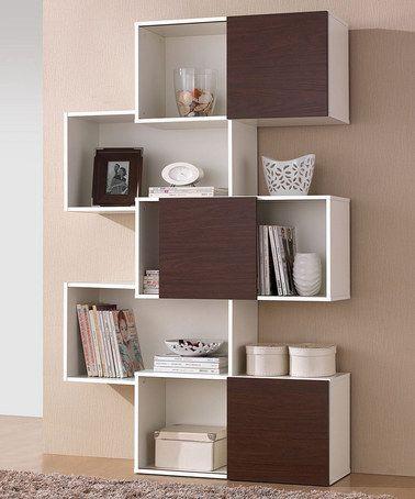 Another great find on #zulily! White & Walnut Harriette Modern Bookcase by Baxton Studio #zulilyfinds