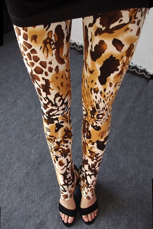 New Scrawl Rock Punk Trend Leopard Tiger Print Leggings High Elasticity Fashion Women's Skinny Pants Spring L686