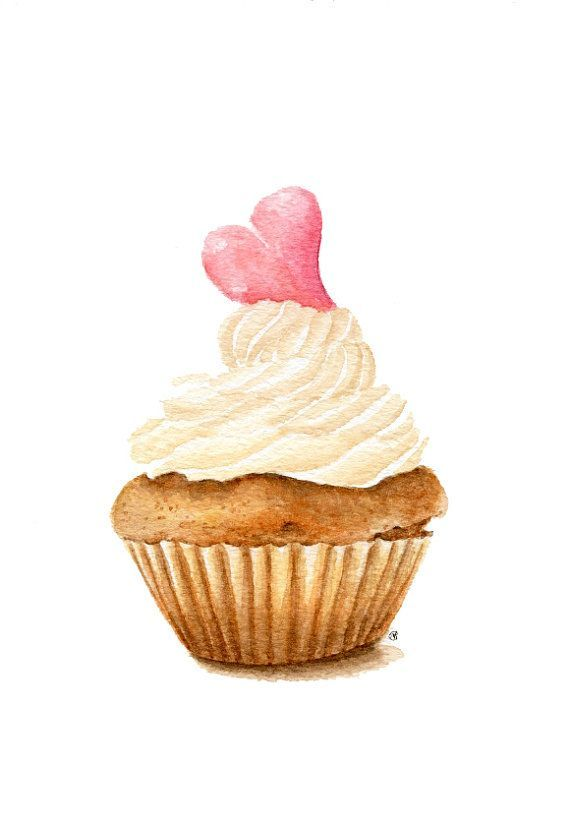 ORIGINAL Painting - Cupcake (Sweet Food Watercolors Wall Art, Still Life) A5