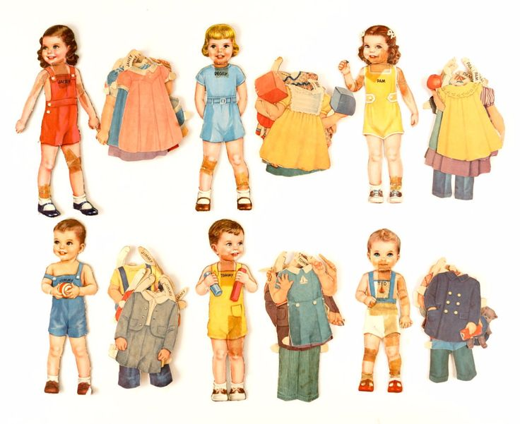 "Vintage Paper Doll Children ""Janey, Peggy, Pam, Jimmy, Tommy, and Ted"", 47 pieces (c.1940s)"