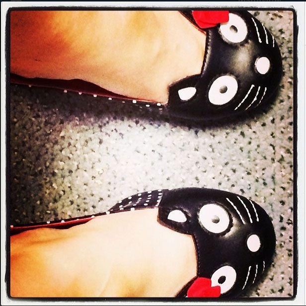Black Polka Dot Kitty Anti-Pop Heels by T.U.K
