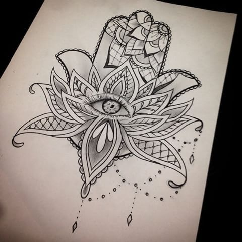 Image result for geometric lotus tattoo