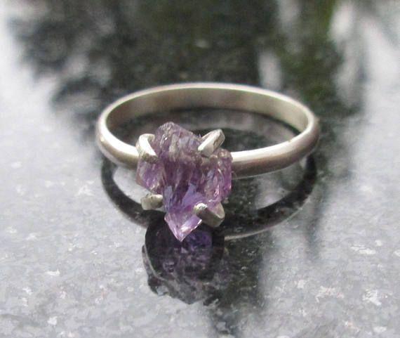 Amethyst Ring Raw Crystal Ring Size 5 Ring Raw Stone Ring