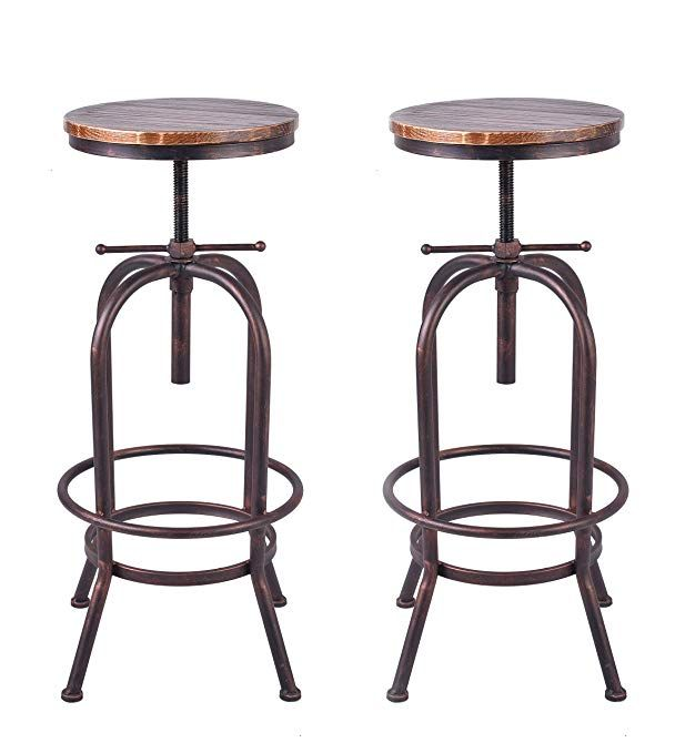Awe Inspiring 34 Inch Vintage Industrial Bar Stool Metal Wood Swivel Bar Unemploymentrelief Wooden Chair Designs For Living Room Unemploymentrelieforg