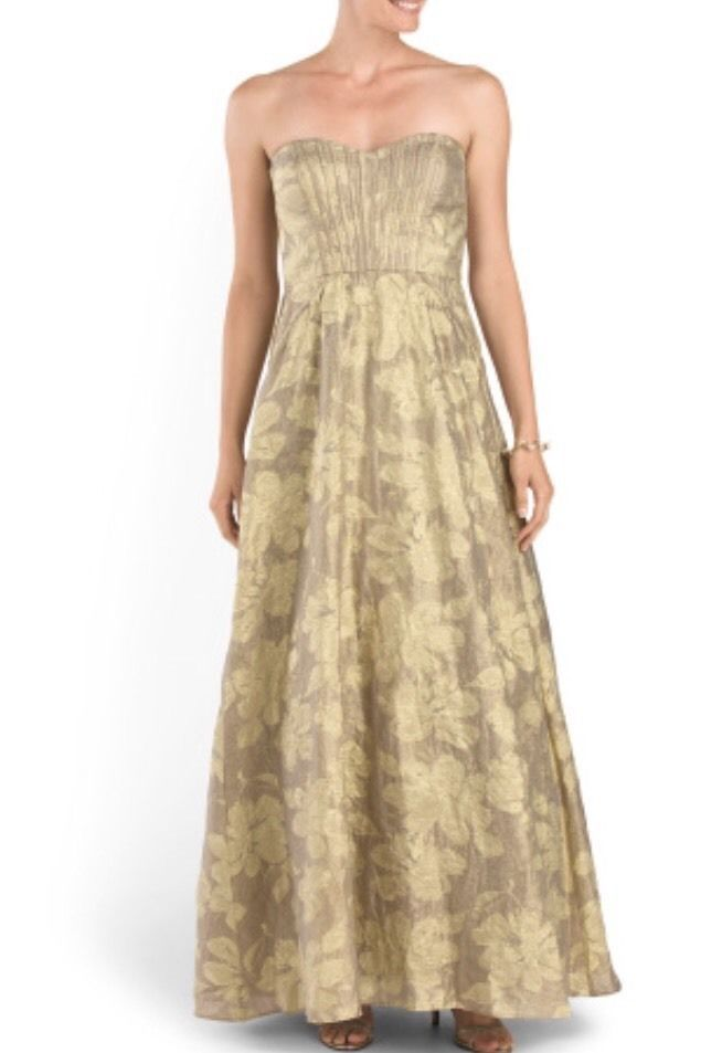 AIDAN MATTOX  Strapless Metallic Organza Gown in Mink Size 2  $550NWT #054461630