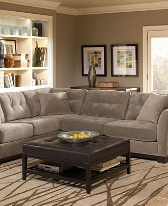 Elliot Fabric Sectional Sofa Collection - Living Room Furniture - furniture - Macy's: Wall Colors, Furniture Collection, Paintings Colors, Sectional Living Rooms, Elliot Fabrics, Sofas Collection, Families Rooms, Living Rooms Furniture, Sectional Sofas