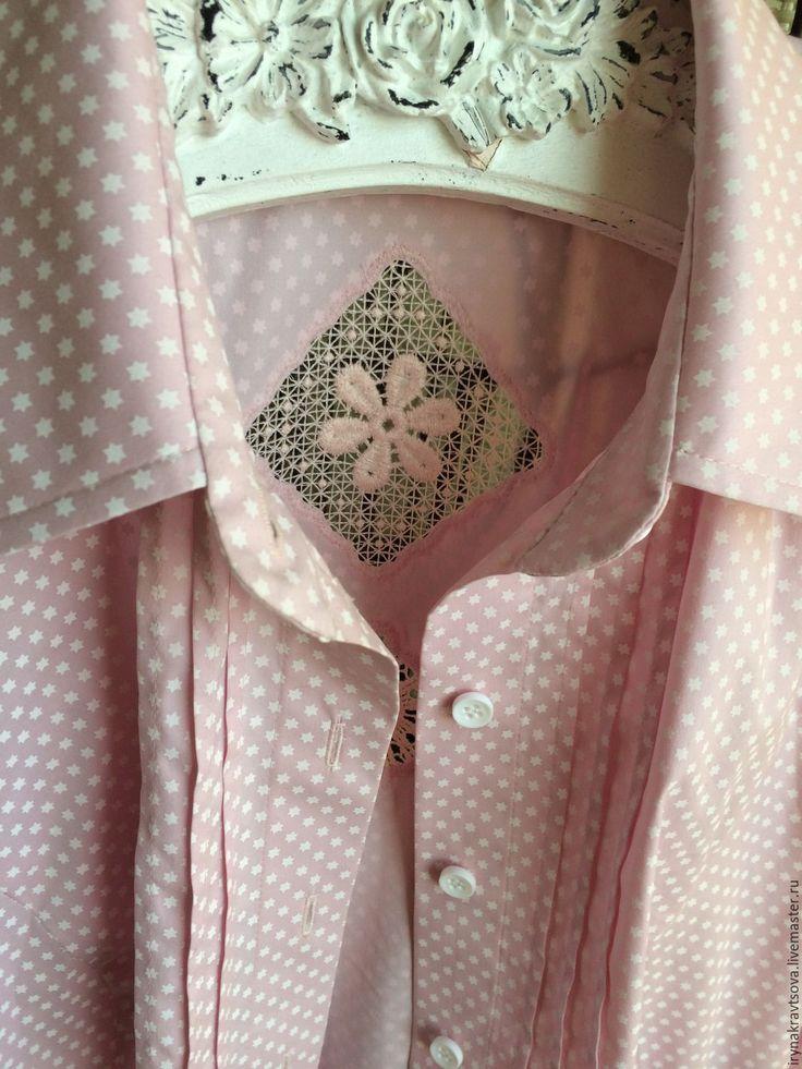 Купить Рубашка1008 розовая - бледно-розовый, в горошек, рубашка, рубашка из хлопка, рубашка женская, блузка