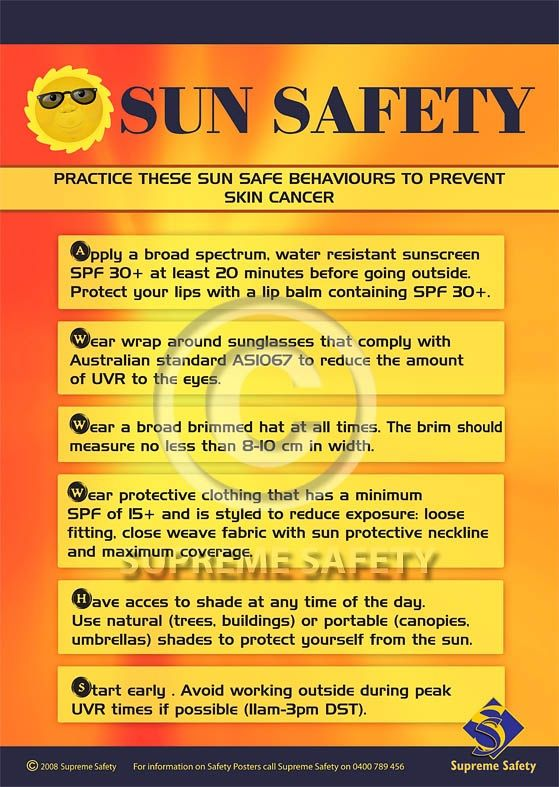 Sun safety behaviours to prevent yourself for getting skin cancer.