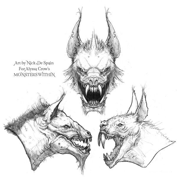 """Monster Trial by Nick De Spain for Alyssa Crow's """"Monsters Within"""". #ConceptArt #Comics #Beasts #Monsters #Creature"""