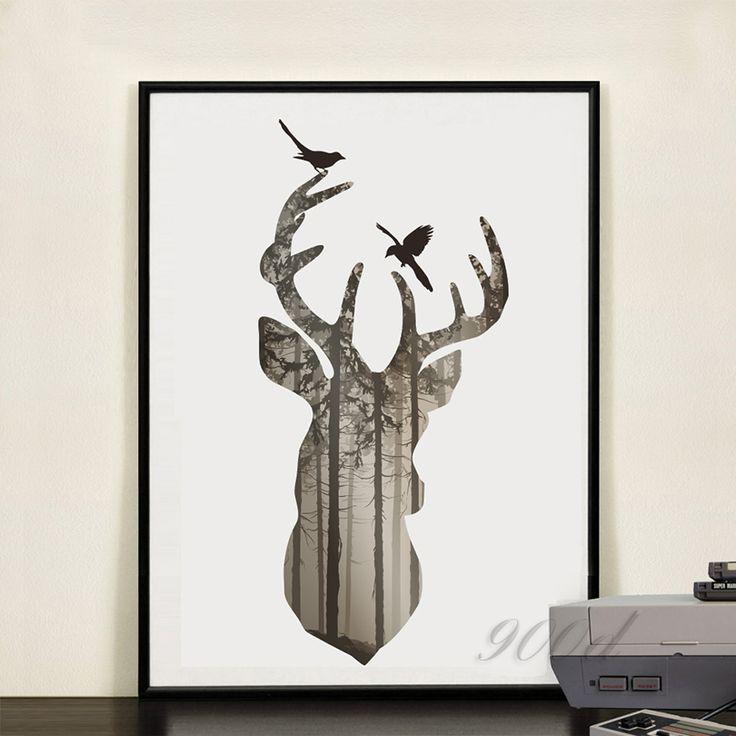 Trouver plus Peinture et calligraphie Informations sur Silhouette de deer head…