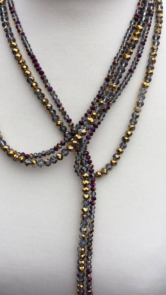 Amethyst Crystal Long Lariat Gemstone Lariat Long Amethyst