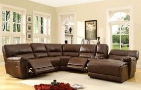 A.M.B. Furniture & Design :: Living room furniture :: Sofas and Sets :: Leather sectionals :: 6 pc Blythe collection brown bonded leather match upholstered reclining sectional sofa set with chaise