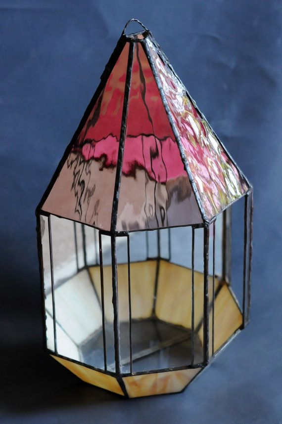 Mirror Illusion Geometric Stained Glass Terrarium By Rosehilde