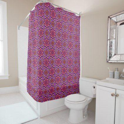 Mosaic Pattern Purple Vintage  Shower Curtain - cool gift idea unique present special diy