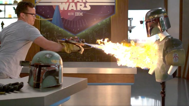 Boba Fett Actor Daniel Logan Uses Real Life Boba Fett Flamethrower to Attack a Boba Fett Dummy