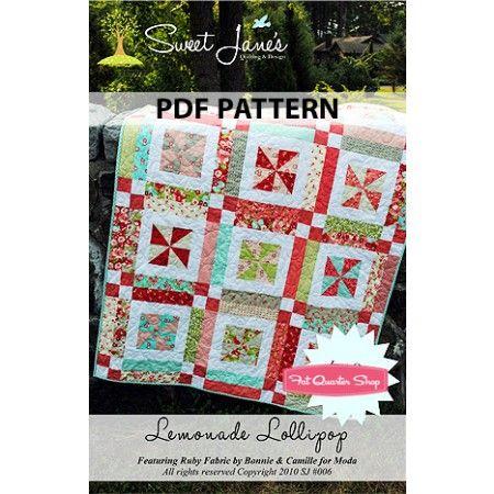 Lemonade Lollipop Downloadable PDF Quilt Pattern Sweet Jane's Quilting and Design