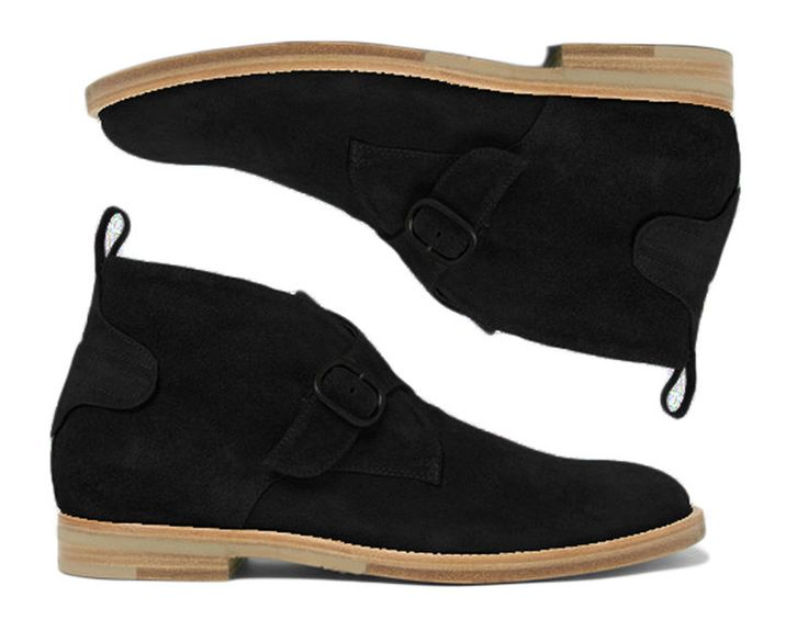 Handmade Black Suede Boot Monk Strap Desert Boots Men All size available #Handmade #MonkBoot