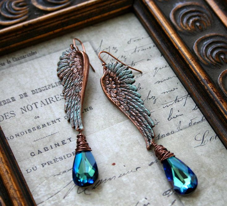 ❥ the Gilded Dragonfly ~Ocean Angel~  copper and Swarovski wire wrapped patina angel wing earrings.