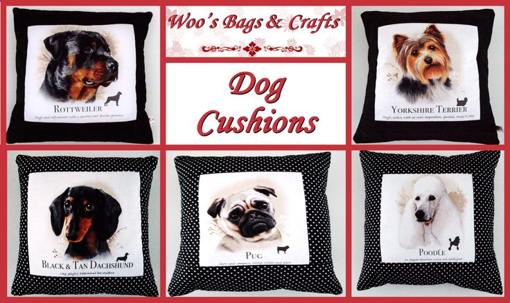 Dog Breed Cushions Rottweiler, Short Haired Dachshund, Pug, Yorkie, White Poodle by woosbagsandcrafts on Etsy