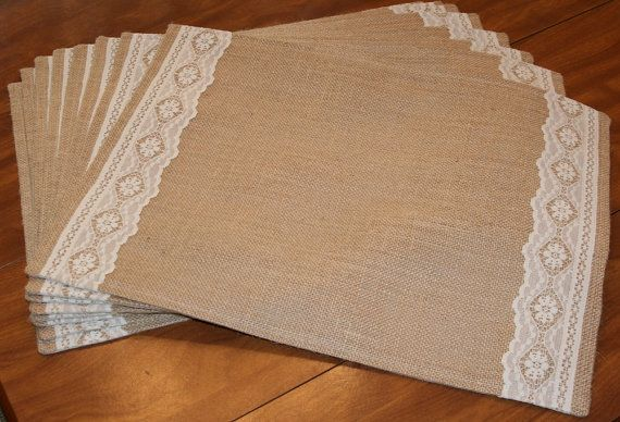 Burlap and flat lace lined or unlined feathered edge rustic country placemats machine embroidery available