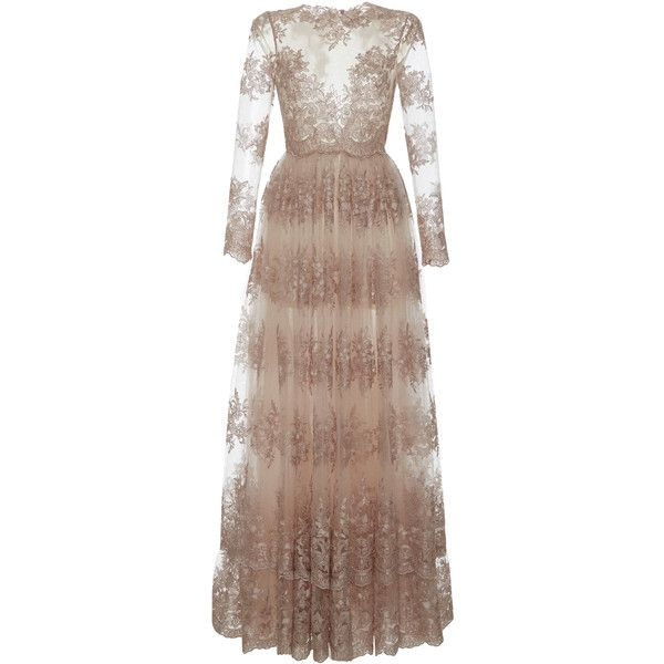 Luisa Beccaria Lace Long Dress W/ Long Sleeves ($5,815) ❤ liked on Polyvore featuring dresses, gowns, neutral, long lace gown, long evening dresses, long-sleeve lace dresses, long sleeve dress and long sleeve lace dress