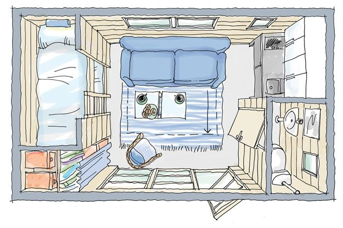 Nice tiny, tiny place. OK, side door. I like this if you make the bed a full bed on top and put a writing desk underneath instead of another bed. And then, you make an openable window out the loft with built in ladder down to a porch built onto the hitch. Yeah? Wouldn't that be funny?