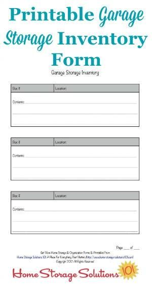 Free printable garage storage inventory form to keep track of the items you keep in this storage area of your home {courtesy of Home Storage Solutions 101}