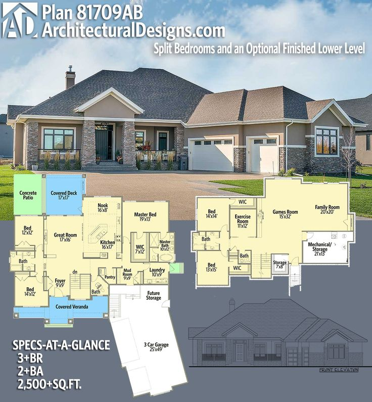 Architectural Designs House Plan 81709AB 3BR