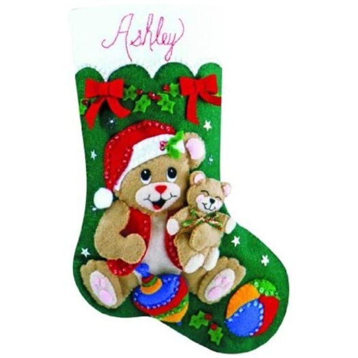 Design Works Teddy Bear Fun Gifts Holiday Christmas Felt Stocking Kit 5230