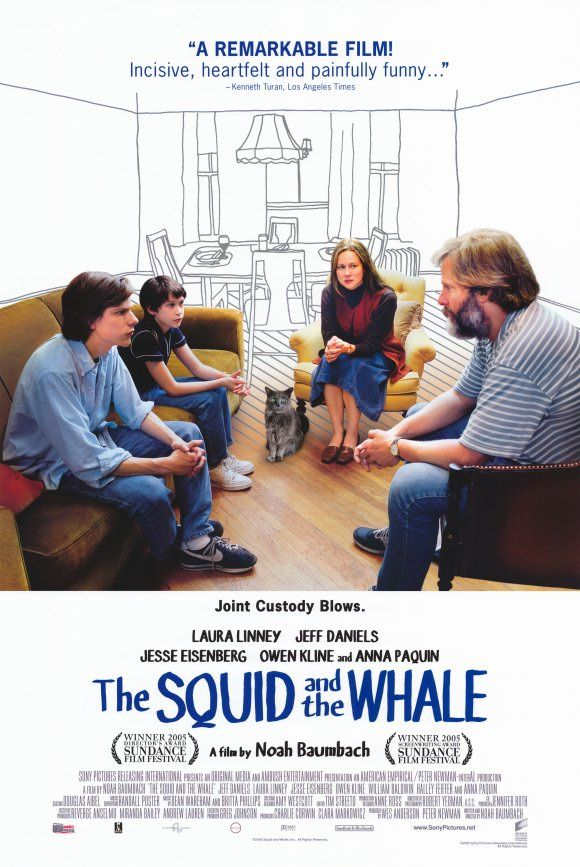 Based on the true childhood experiences of Noah Baumbach and his brother, The Squid and the Whale tells the touching story of two young boys dealing with their parents' divorce in Brooklyn in the 1980s. http://www.youtube.com/watch?v=hkVexAnoI60